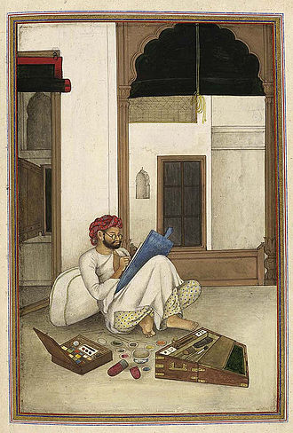 Mazhar Ali Khan (painter) - Self portrait