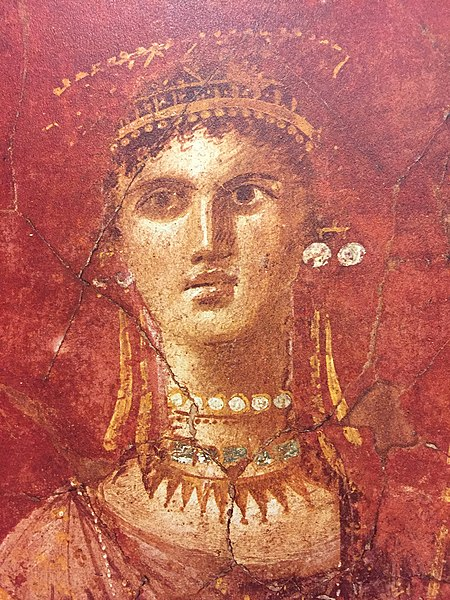 File:Medallion painting of Venus Aphrodite with a golden diadem and scepter, pearl earrings and necklace, House of Marcus Fabius Rufus, Pompeii 3.jpg