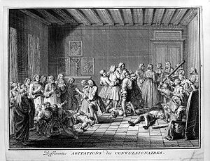 Religious fanaticism - Members of the Jansenist sect having convulsions and spasms as a result of religious fanaticism. Engraving by Bernard Picart