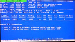 Screenshot di Memtest86+ (ver. 4.10)