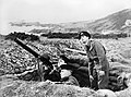 Men of the Royal Navy's Coast Watch man a Lewis gun emplacement on a cliff top in Devon, 1940. A1815.jpg