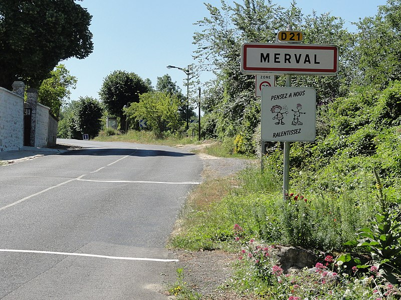 Merval (Aisne) city limit sign