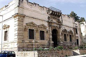 Natale Masuccio - The Palazzo del Monte di Pietà in Messina, which was designed by Masuccio in 1616, before (top) and after (bottom) the earthquake of 1908