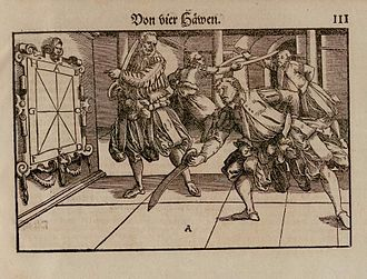 Dusack - Figure illustrating the basic cuts with the Dusäck in Joachim Meyer's fencing manual; a pair of fencers using the Dusäck is shown in the background (illustration by Tobias Stimmer, 1570).