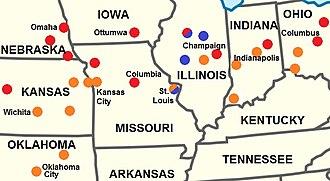 Midland American English - Image: Midland American English map
