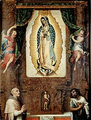 Altarpiece of the Virgin of Guadalupe with Saint John the Baptist, Fray Juan de Zumárraga and Juan Diego