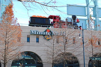 Minute Maid Park - Minute Maid Park's train is visible from the exterior of the ballpark