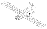 Mir Base Block with the five ports in a spherical node at the station's forward end (left)