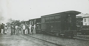 Cape to Cairo Railway - Boarding Cape to Cairo Railway in the Belgian Congo, c. 1900-1915.