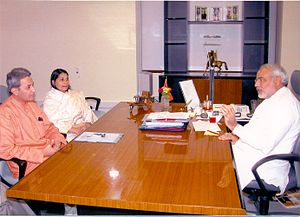 Afroz Ahmad - Afroz Ahmad discussing Narmada Rehabilitation issue with Narendra Modi, presently Prime Minister of India on July 22, 2006.