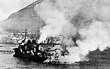 French destroyer Mogador burning after British shellfire