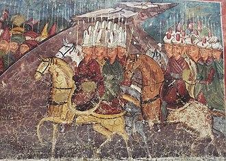 Radu Paisie - Mural of Ottoman Army soldiers, at Petru Rareș's Moldovița Monastery