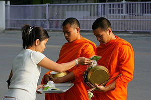 Merit (Buddhism) - Image: Monks in Thailand
