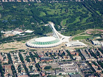 Olympic Park, Montreal - Aerial view of Olympic Park and the Botanical Garden