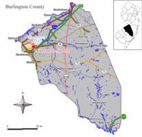 Map of Moorestown-Lenola CDP in Burlington County. Inset: Location of Burlington County in New Jersey.