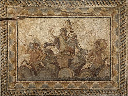 Epiphany of Dionysus mosaic, from the Villa of Dionysus (2nd century AD) in Dion, Greece. Now in the Archeological Museum of Dion. MosaicEpiphany-of-Dionysus.jpg