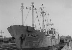 Motor vessel Elfriede in Antwerp in the shipyard in dry dock - 1956.png