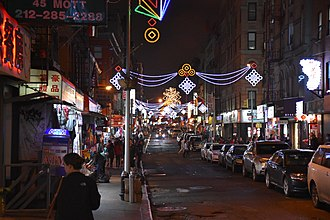 Mott Street - Looking north at Mott and Pell Streets at night