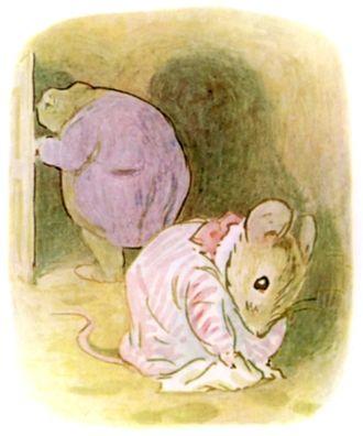 The Tale of Mrs. Tittlemouse - Mrs. Tittlemouse wiping Mr. Jackson's wet footmarks off her parlour floor.
