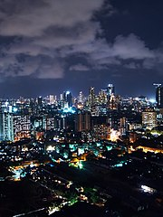 A view of Mumbai's skyline at night.