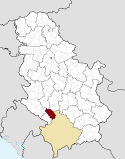 Location of the city of Novi Pazar within Serbia