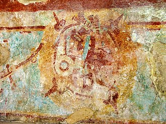 Mayapan - This mural partially survives in the Sala de los Frescos in Mayapán. In it appears a solar disk with the figure of a deity, possibly representing one of the transit of Venus that happened in years 1152 or 1275.