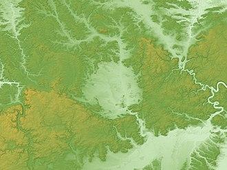 Nördlinger Ries - Image: Nördlinger Ries Relief Map, SRTM 1