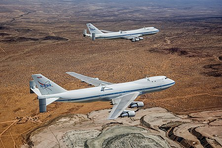 NASA's Shuttle Carrier Aircraft 905 (front) and 911 (rear)