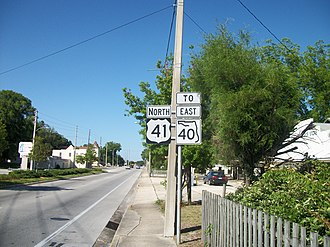 Dunnellon, Florida - Northbound US 41 where it shares a hidden concurrency with SR 40.