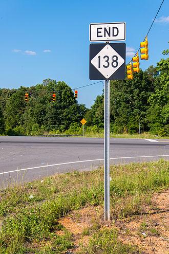 North Carolina Highway 138 - End of NC 138 at US52