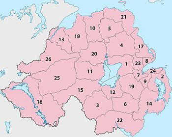 26 Northern Ireland local government districts, 1971-2015.