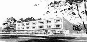 National Radio Institute - A sketch of the NRI building on Wisconsin Ave NW in Washington D.C., which appeared in the Jun-Jul 1957 issue of the National Radio-TV News Journal announcing the school's relocation.