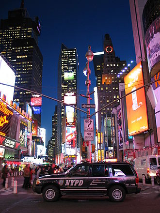 Crime in New York City - An NYPD vehicle stationed in Times Square.