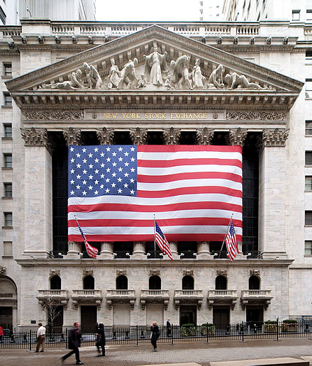 The New York Stock Exchange, the world's largest stock exchange by total market capitalization of its listed companies NYC NYSE.jpg