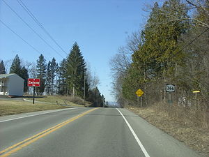 New York State Route 366 - NY 366 heading past a hotel near Turkey Hill Road (CR 161) in Dryden
