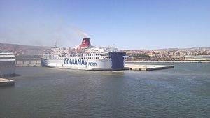Transport in Morocco - A Comanav ROPAX ferry in the Nador Port