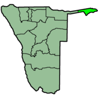 The Zambezi Region (light green) in Namibia