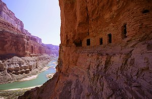 English: Ancestral Puebloan granaries high abo...