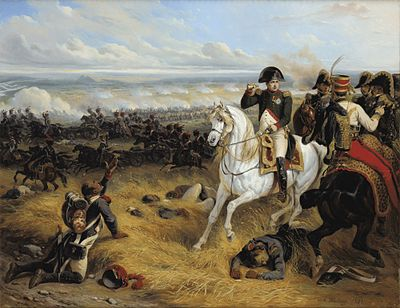 Napoleon following the smokeline of Davout's columns. The attack of III Corps constituted the crucial French offensive at Wagram. Napoleon a Wagram.jpg