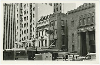King William Street, Adelaide - King William Street in 1973. The elaborate Commonwealth Bank building on the right has since been demolished, as have the two buildings next to it.