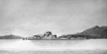 Narrative of a Voyage around the World - View of the Arsenal & Lighthouse, Sitka, New Archangel.png