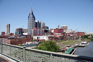 Nashville downtown overlooking the cumberland river