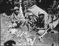 Navajo Indian communication men with the Marines on Saipan landed with the first assault waves to his the beach. - NARA - 532526.tif