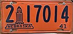 Nebraska license plate 1941 from the private collection of Jim Smith.jpg