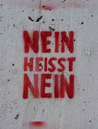 "Rape in Germany - German language graffiti in Vienna from 2010, reading nein heisst nein, or ""no means no"""