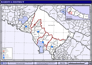 Bardiya District - Map of the VDC/s and Municipalities (blue) in Bardiya District