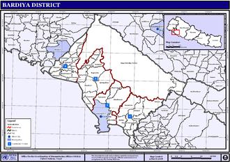 Bardiya District - Map of the VDC/s and Municipalities (blue) in Bardiya District