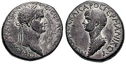 Coin issued under Claudius celebrating young Nero as the future emperor, c. 50