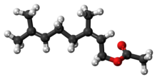 Ball-and-stick model of the neryl acetate molecule