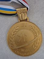 A golden medal is pictured in front of a grey background. The medal has a multi-colored ribbon on it.